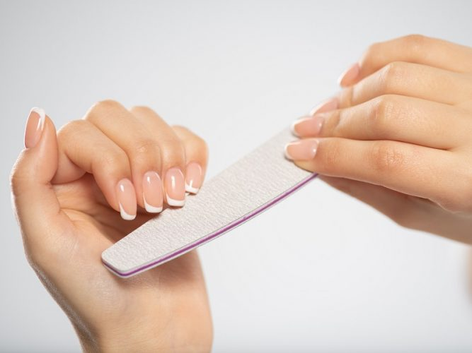 Woman gets manicure