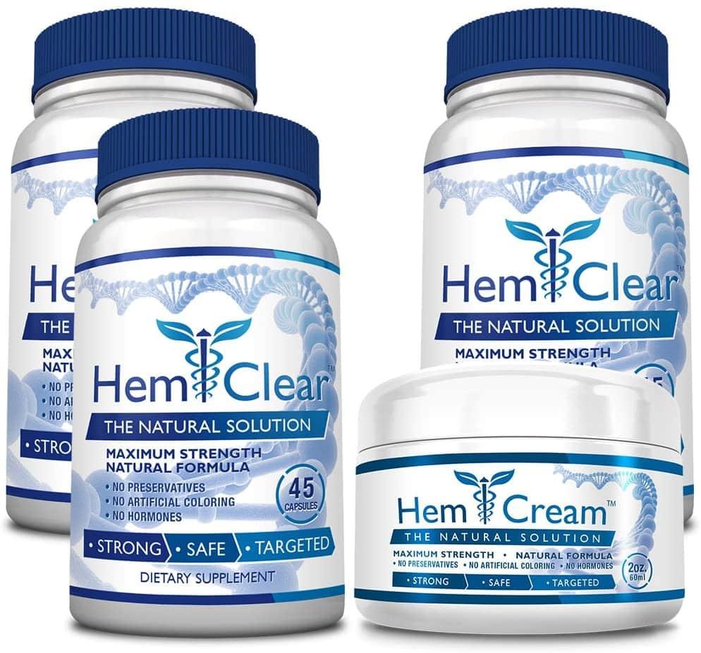 HemClear for Hemorrhoids (Maximum Strength 3 Bottles + 1 Cream)