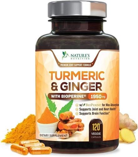 Turmeric Curcumin with BioPerine & Ginger 95% Curcuminoids 1950mg