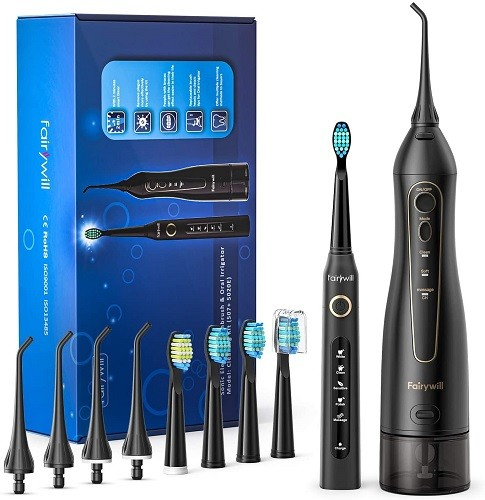 Water Flosser and Toothbrush Combo, Fairywill Teeth Cleaner Set
